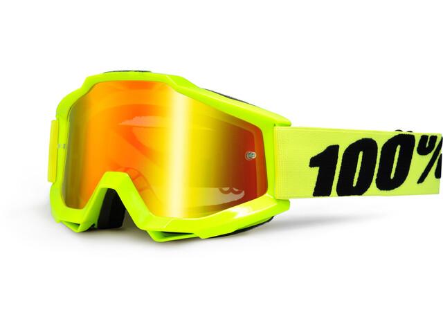 100% Accuri Anti Fog Mirror Goggles flue/yellow